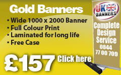 Gold Banner. Wide 1000 x 2000 banner, full colour print, Laminated for long life, FREE case Cllick here!
